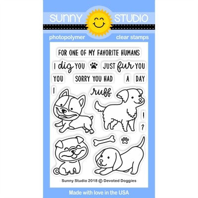 Sunny Studio Stamps Devoted Doggies 3x4 Clear Photopolymer Stamp Set