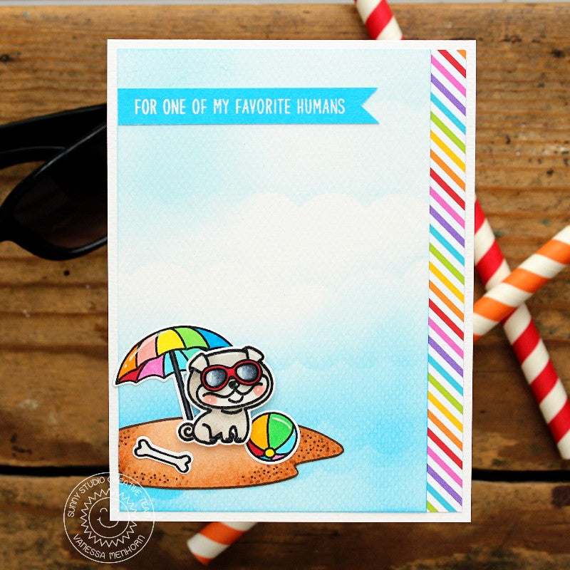 Sunny Studio Stamps Beach Dog Card using Rainbow Bright 6x6 Patterned Paper Pack