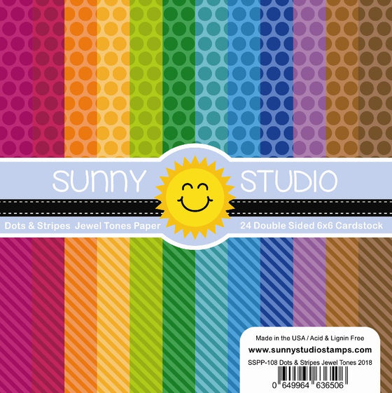 Sunny Studio Stamps Dots & Stripes Jewel Tones 6x6 Patterned Paper Pack