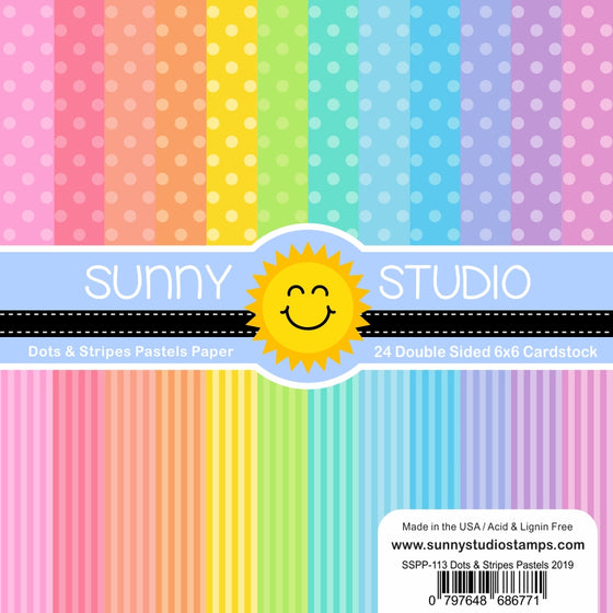 Sunny Studio Dots & Stripes Pastels 6x6 Patterned Paper Pack with 24 double-sided sheets of 65 lb. Cardstock