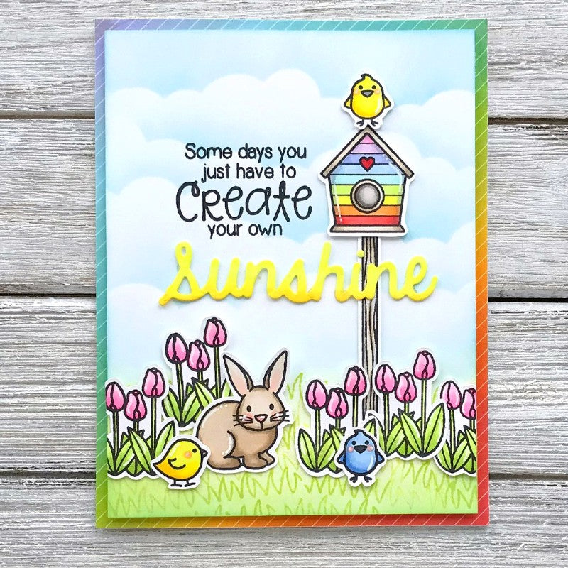 Sunny Studio Bunny with Birds and Rainbow Birdhouse with Tulip Border (using A Bird's Life 4x6 Clear Photopolymer Stamp Set)