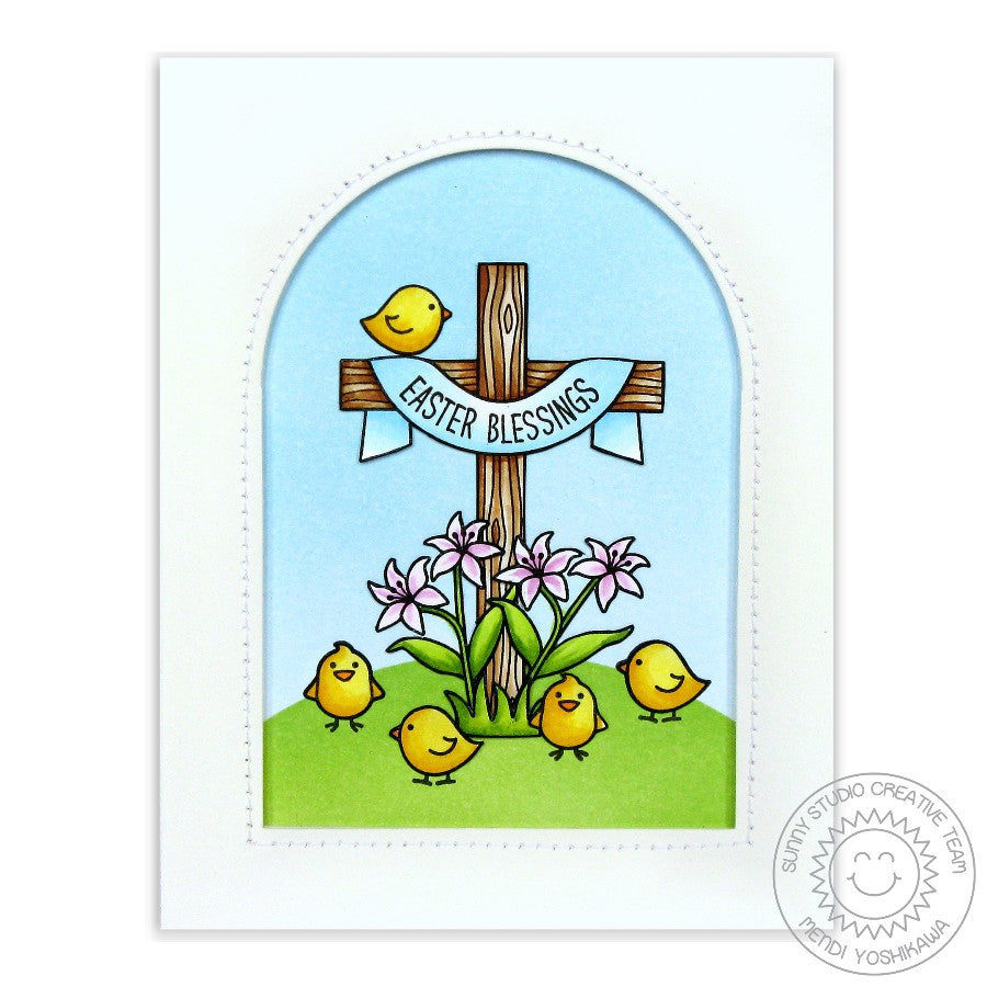 Sunny Studio Stamps Easter Wishes Cross with Lilies Arched Window Card