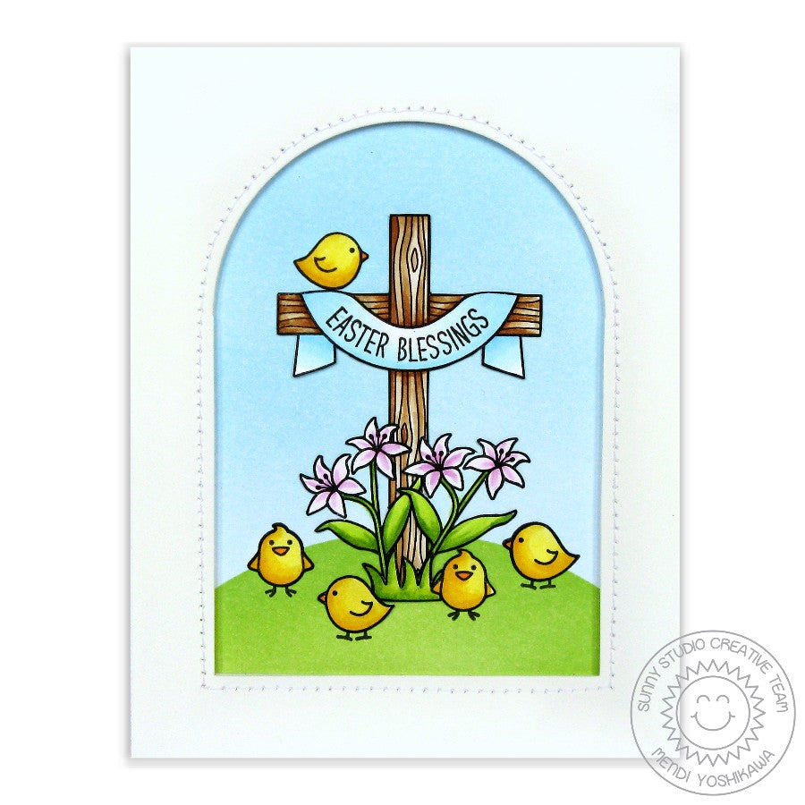 Sunny Studio Stamps Easter Greetings Card with arched window using Sunny Semi Circle dies