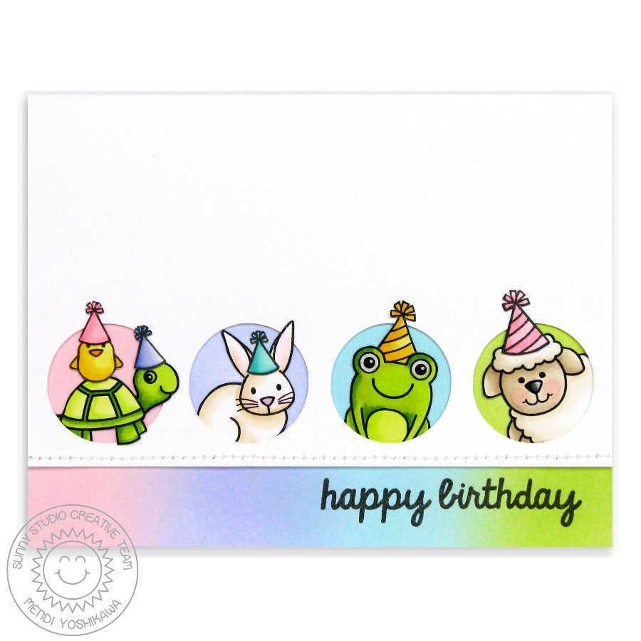 Sunny Studio Turtley Awesome Turtle & Critter Friends Rainbow Birthday Card