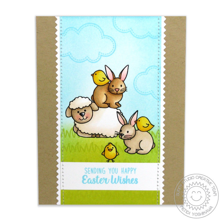 Sunny Studio Stamps Easter Wishes Sheep, Bunny & Chick Card