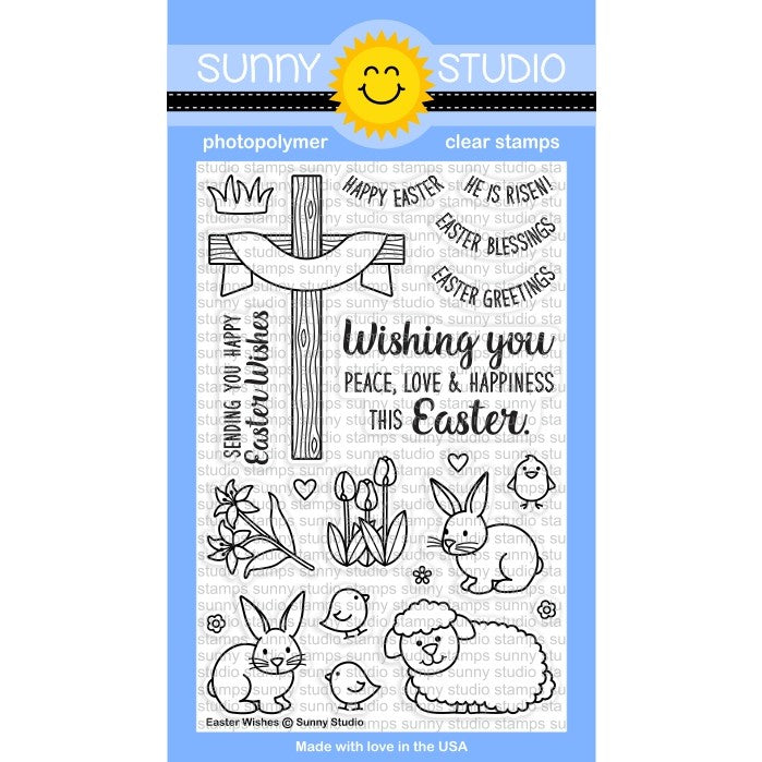 Sunny Studio Stamps Easter Wishes 4x6 Cross, Bunny, Sheep & Chicks Photo-Polymer Clear Stamp Set