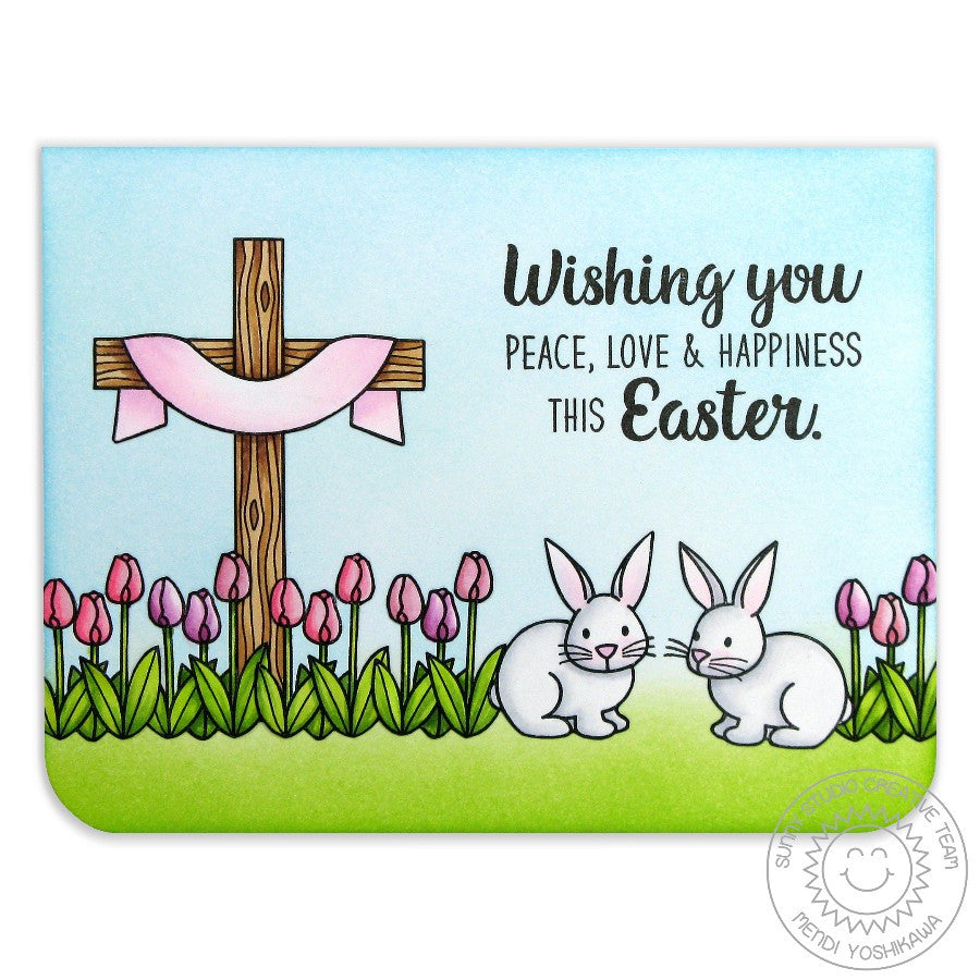 Sunny Studio Stamps Easter Wishes Cross, Tulips & Bunny Rabbit card