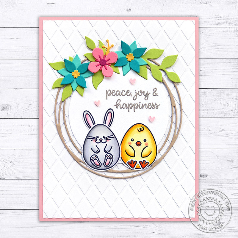 Sunny Studio Peace, Joy & Happiness Bunny & Chick Egg sitting in Spring Wreath Easter Card (using Eggs To Dye For 4x6 Clear Stamps)