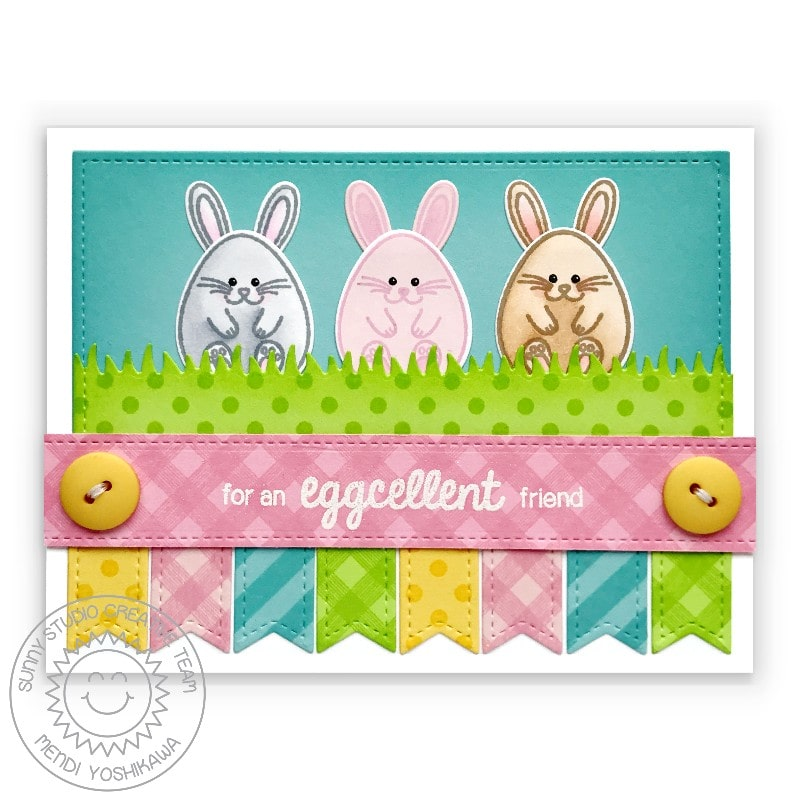 Sunny Studio Stamps For an eggcellent friend Punny Easter Bunny Card (using Eggs To Dye For 4x6 Clear Stamps)