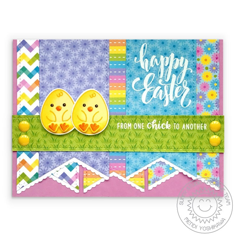 Sunny Studio Happy Easter From One Chick To Another Punny Pennant Card (using Eggs To Dye For 4x6 Clear Stamps)