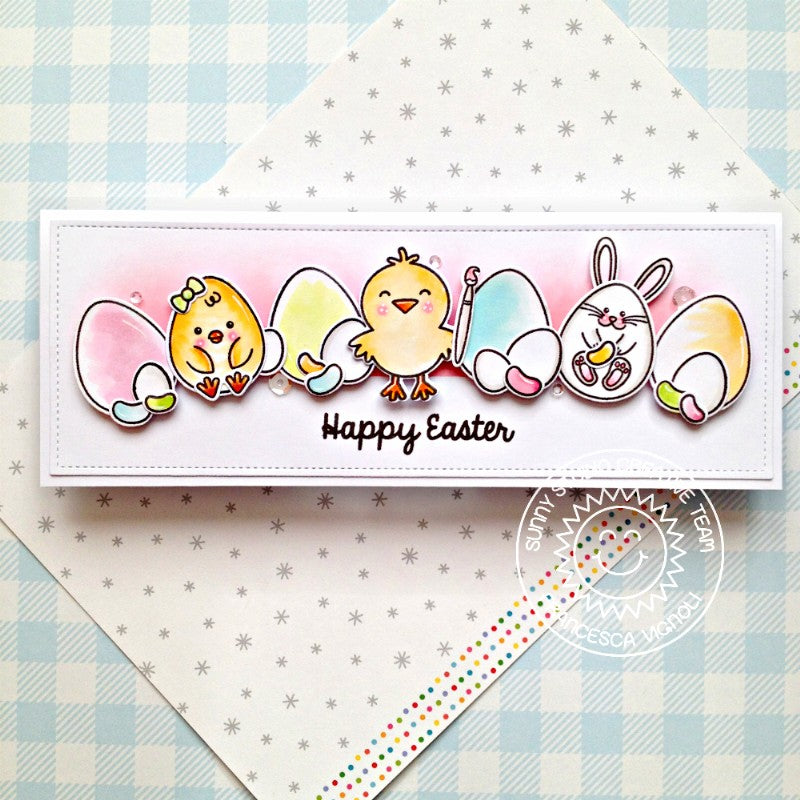 Sunny Studio Chicks & Bunnies with Eggs Handmade Happy Easter Slimline Card (using Layered Layering Eggs To Dye For 4x6 Clear Stamps)