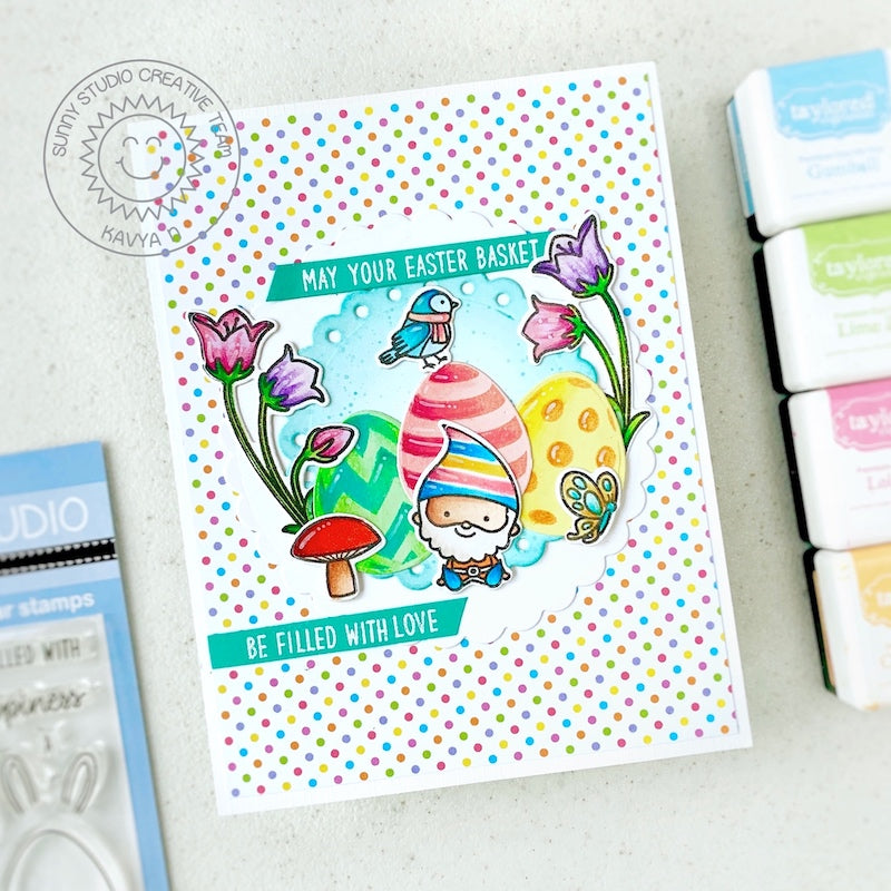 Sunny Studio Stamps May Your Easter Basket Be Filled With Love Gnome with Eggs Handmade Card (using Scalloped Circle Mat 1 Dies)