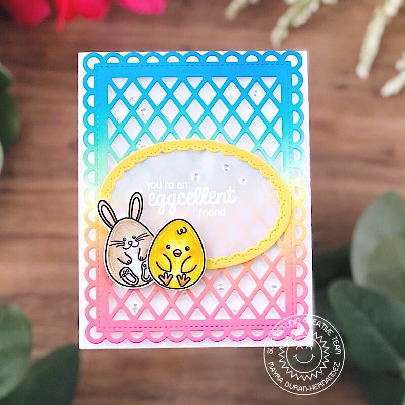 Sunny Studio You're an Eggcellent Friend Bunny & Chick Easter Eggs Card (using Eggs To Dye For 4x6 Clear Stamps)