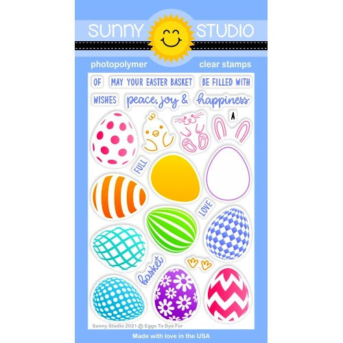 Sunny Studio Stamps Eggs To Dye For Easter Layering Bunny & Chick 4x6 Clear Photopolymer Stamp Set