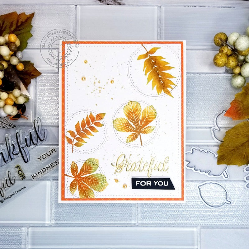 Sunny Studio Stamps Grateful For You Fall Leaves Card (using stitched Staggered Circles Die)