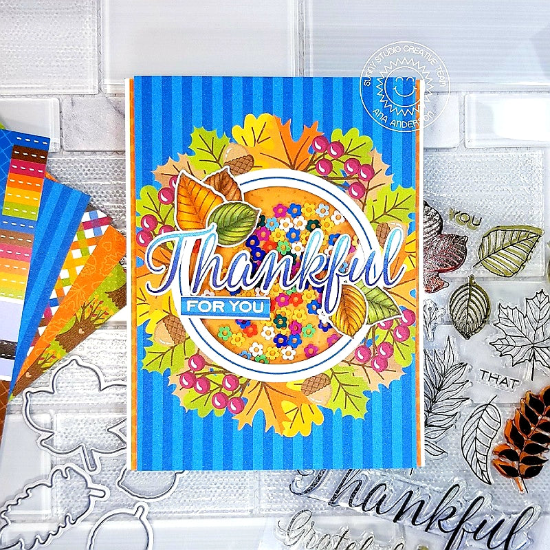 Sunny Studio Stamps Elegant Leaves Thankful For You Shaker Card (using Colorful Autumn 6x6 Patterned Paper pad)