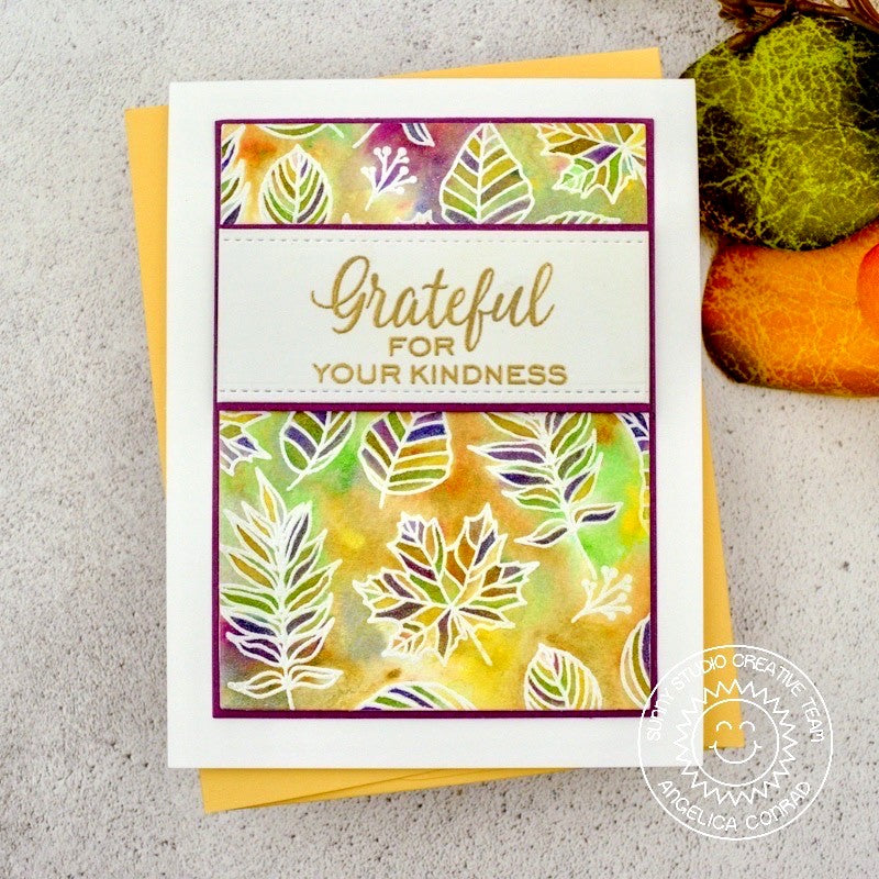 Sunny Studio Stamps Elegant Leaves Fall Grateful For Your Kindness Watercolor Handmade Card by Angelica Conrad