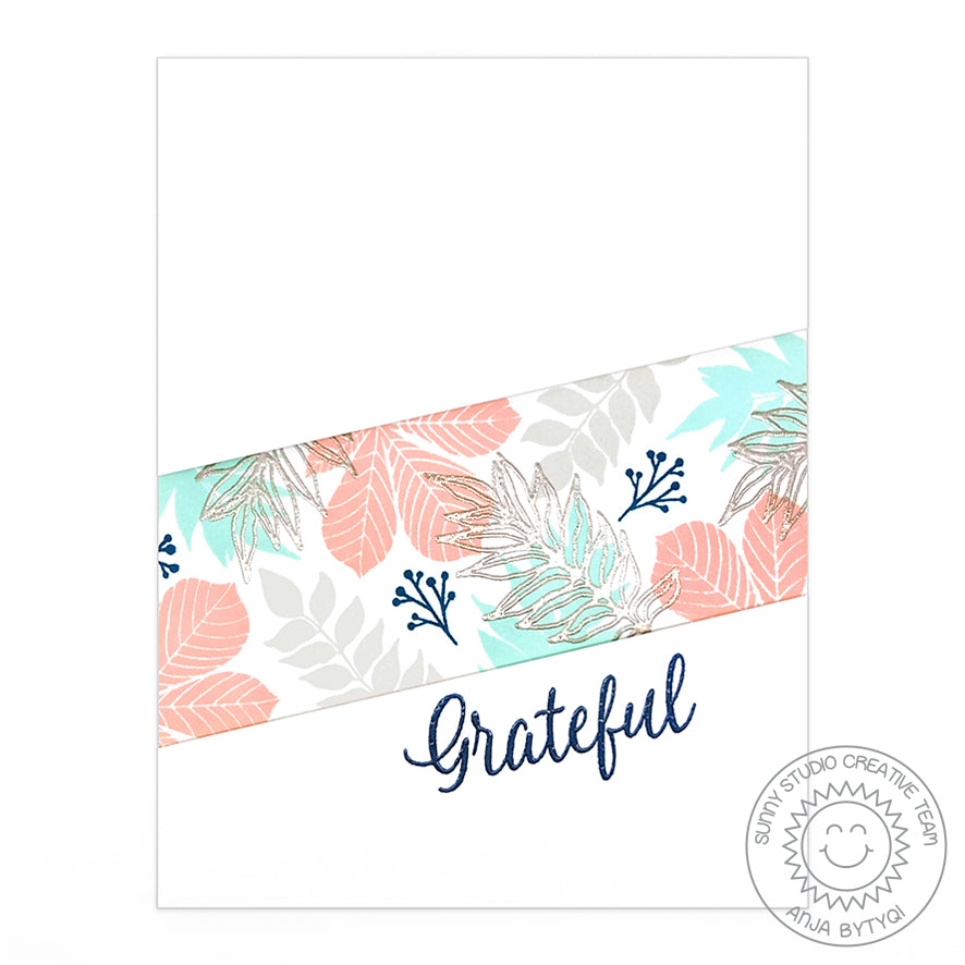Sunny Studio Stamps Elegant Leaves Grateful For You Graphic Clean & Simple CAS Coral, Aqua & Silver Embossed Fall Card