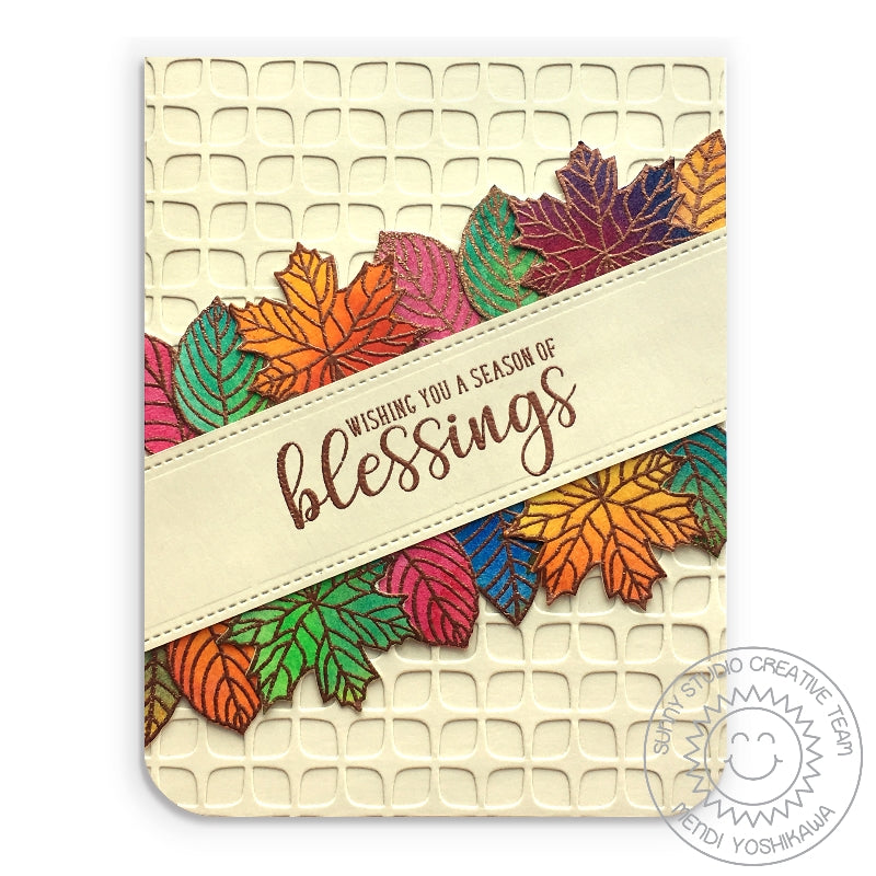 Sunny Studio Stamps Autumn Blessings Cream Watercolor Fall Leaves Bronze Embossed Card (using Frilly Frames Retro Petals Dies for background texture)