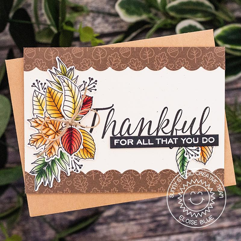 Sunny Studio Stamps Elegant Leaves Thankful For All That You Do Fall Handmade Card by Eloise Blue