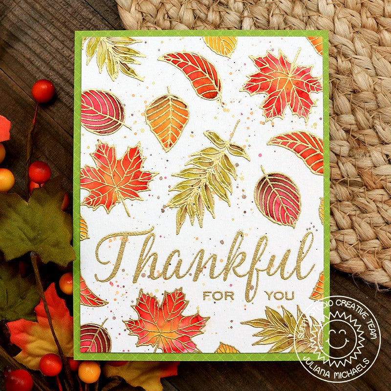Sunny Studio Stamps Elegant Leaves Gold Embossed Watercolor Fall Handmade Card by Juliana Michaels