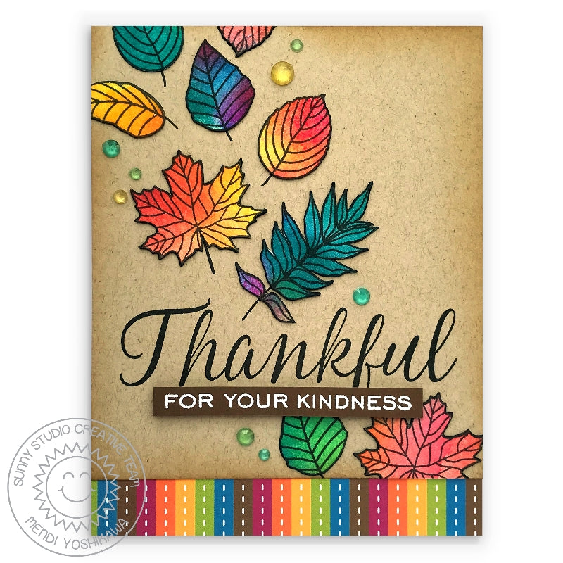 Sunny Studio Stamps Thankful For Your Kindness Rainbow Fall Leaves Card (using Colorful Autumn 6x6 Striped Paper)