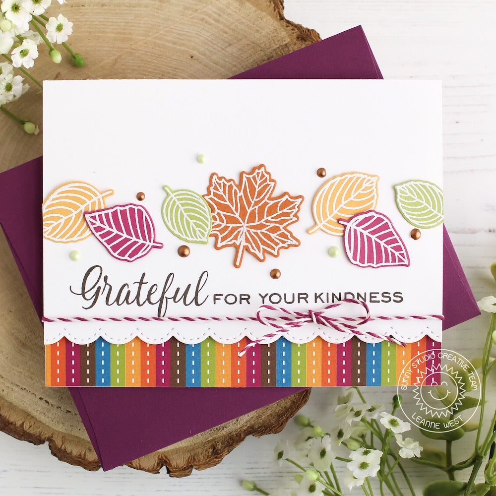 Sunny Studio Stamps Elegant Leaves Grateful For Your Kindness Rainbow Striped Fall Handmade Card by Leanne West