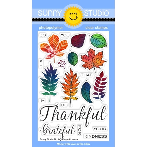 Sunny Studio Stamps Elegant Leaves Thankful for Fall 4x6 Photopolymer Clear Stamp Set
