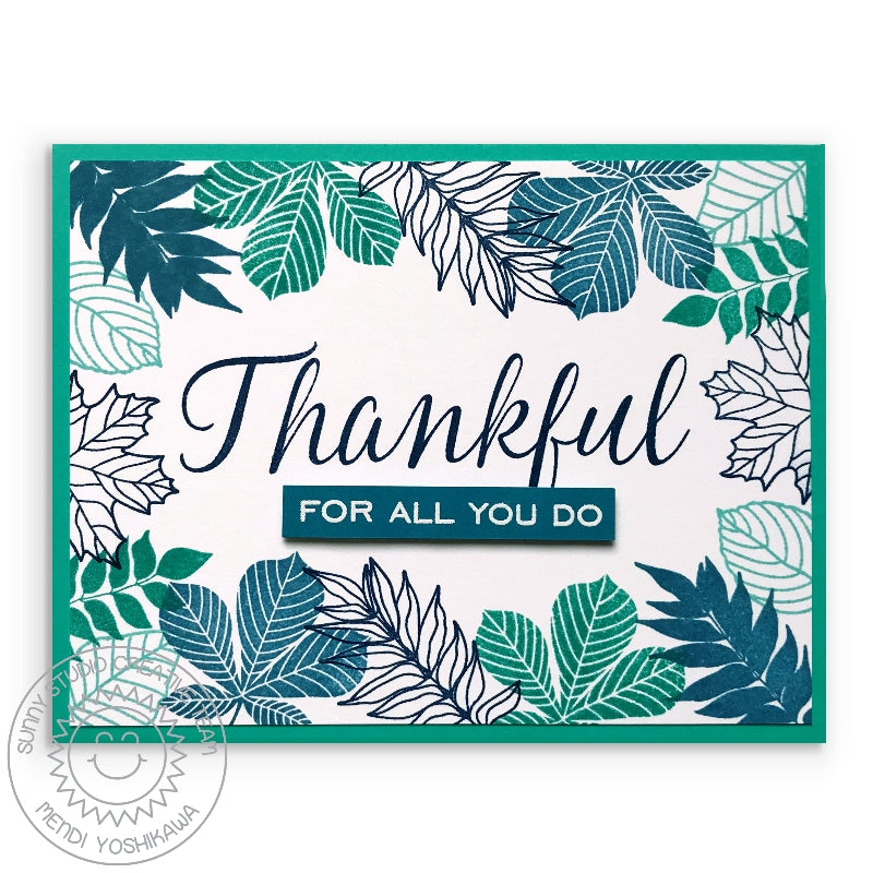 Sunny Studio Stamps Elegant Leaves Thankful For All You Do Teal & Navy Leaf Card