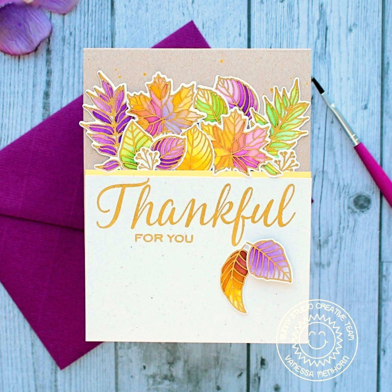 Sunny Studio stamps Elegant Leaves Thankful For You Gold Embossed Watercolor Fall Card by Vanessa Menhorn