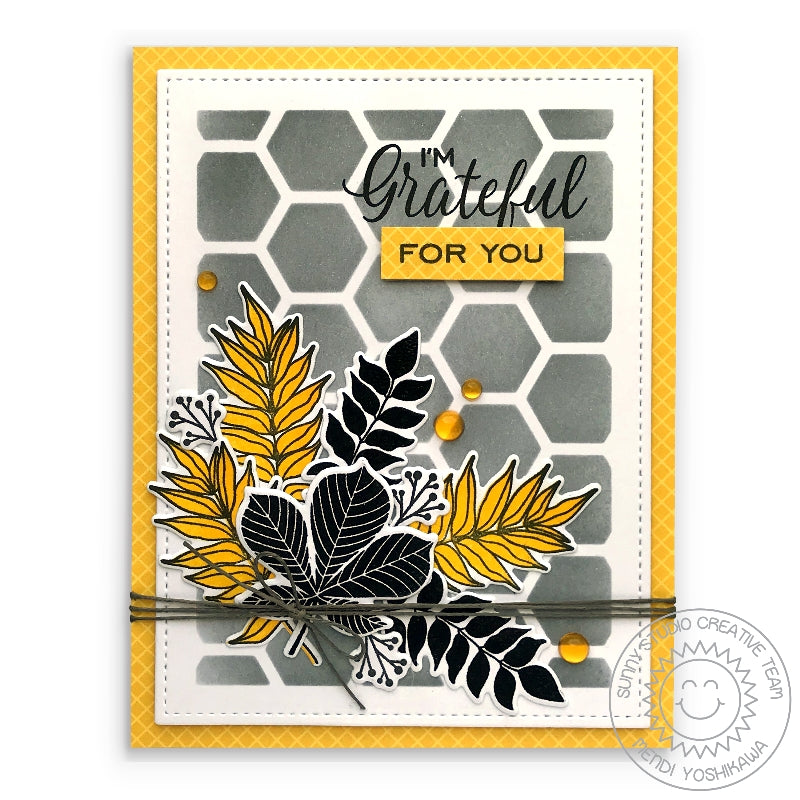 Sunny Studio Stamps Grateful For You Yellow, Grey & Black Leaf Bouquet Card (using the Frilly Frames Hexagon Dies as stencil)