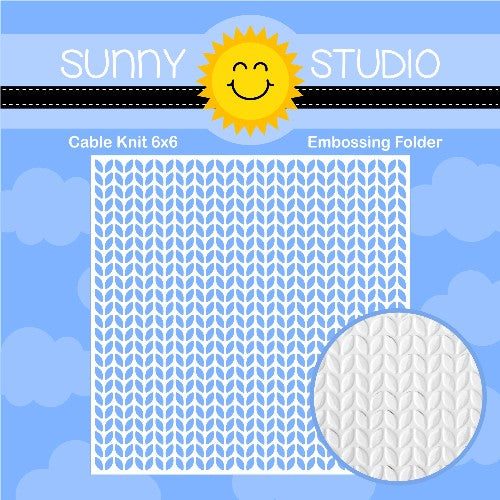 Sunny Studio Stamps Cable Knit 6x6 Embossing Folder