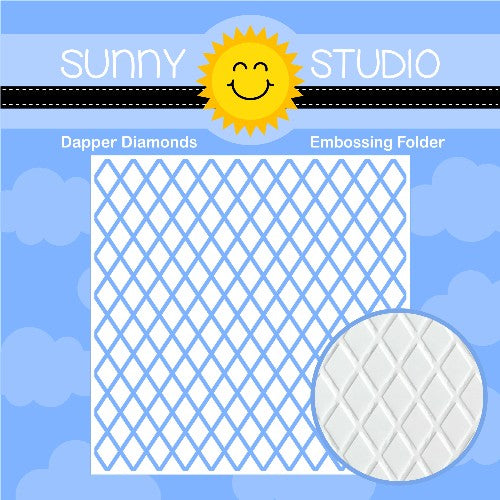 Sunny Studio Stamps Dapper Diamonds 6x6 Embossing Folder