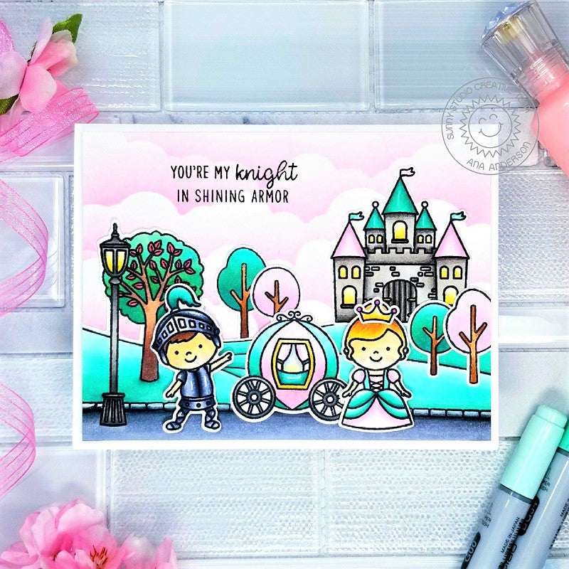 Sunny Studio Stamps You're My Knight In Shining Armor Princess with Castle, Carriage, Park & Trees Scene Handmade Card (using Spring Scenes Border 4x6 Clear Photopolymer Stamp Set)