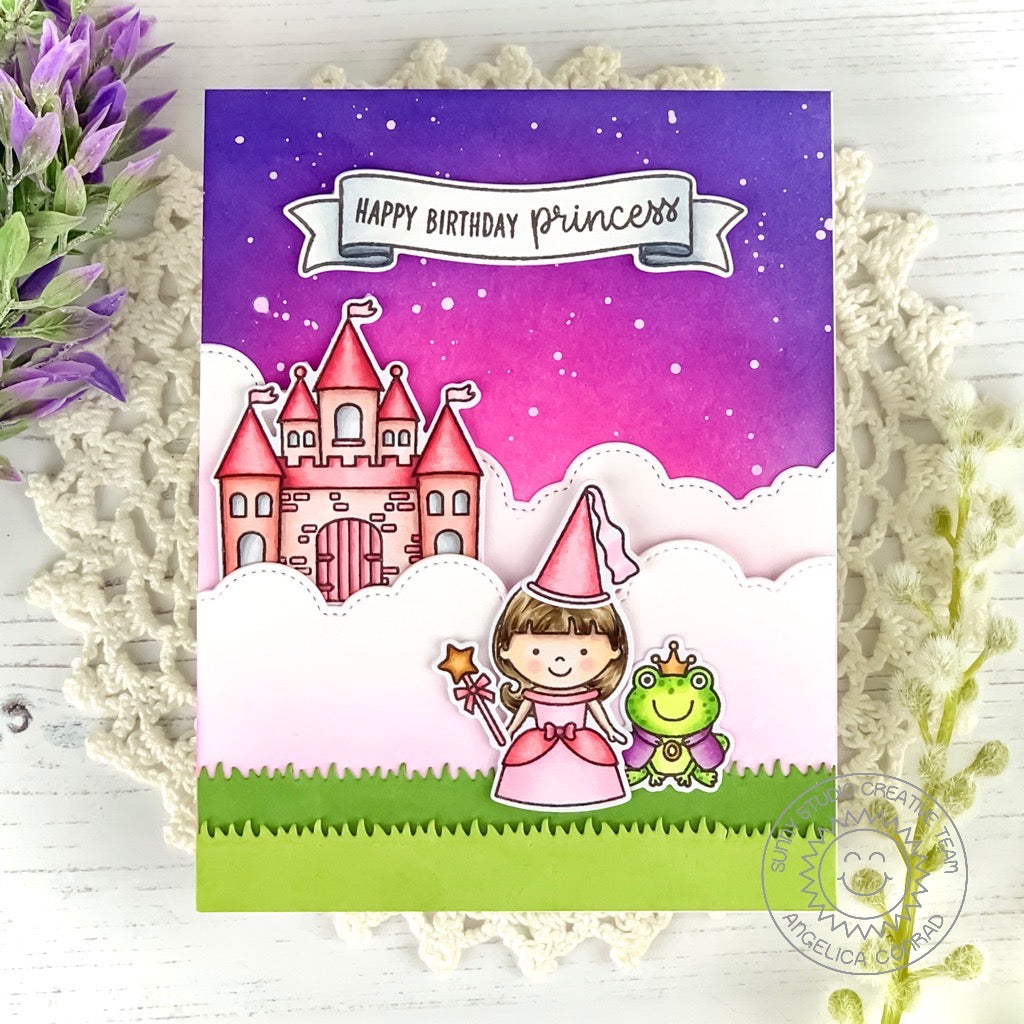 Sunny Studio Stamps Happy Birthday Princess and The Frog Castle Birthday Card (using stitched Fluffy Cloud Border Dies)