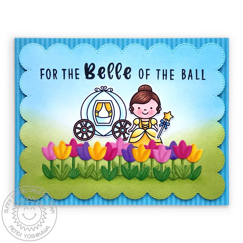 Sunny Studio Stamps Belle of the Ball Princess with Tulips Border Handmade Card (using Basic Mini Shape 3 Exclusive Metal Cutting Dies)