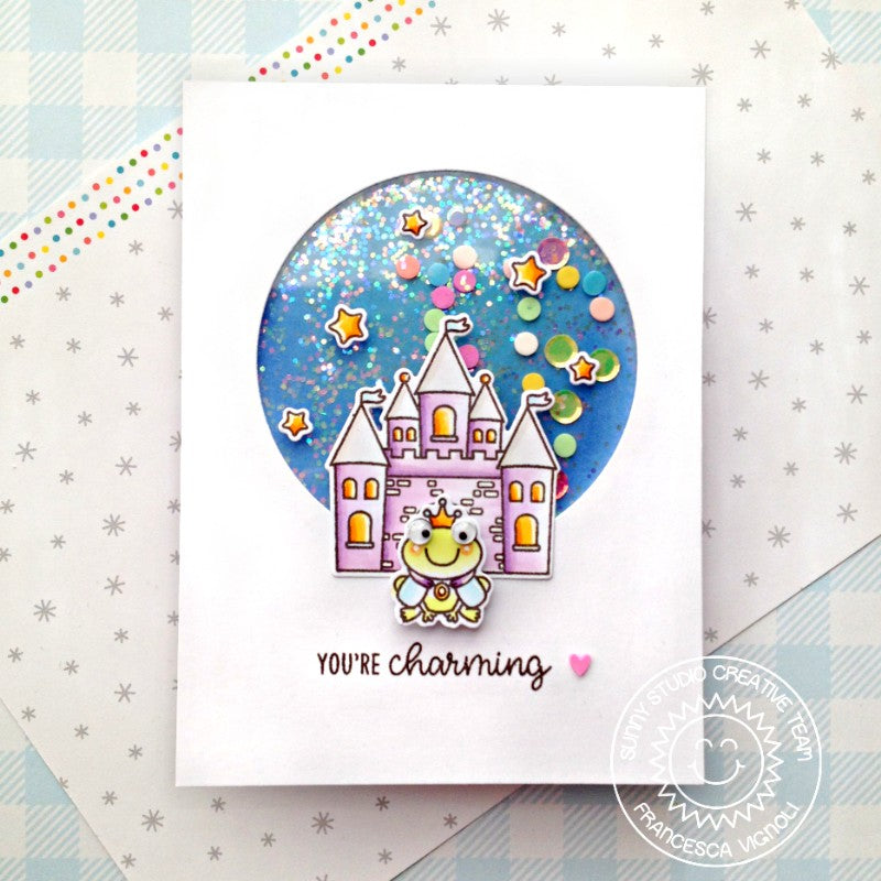 Sunny Studio Stamps Fairytale Princess Castle and the Frog Handmade Shaker Card (using Enchanted 4x6 Clear Photopolymer Stamp Set)
