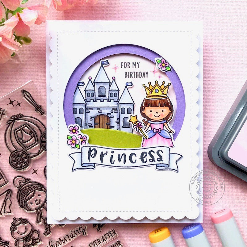 Sunny Studio Stamps Pink & Purple Princess Castle Girls Handmade Scalloped Birthday Card (using Banner Basics 4x6 Photopolymer Clear Stamps)