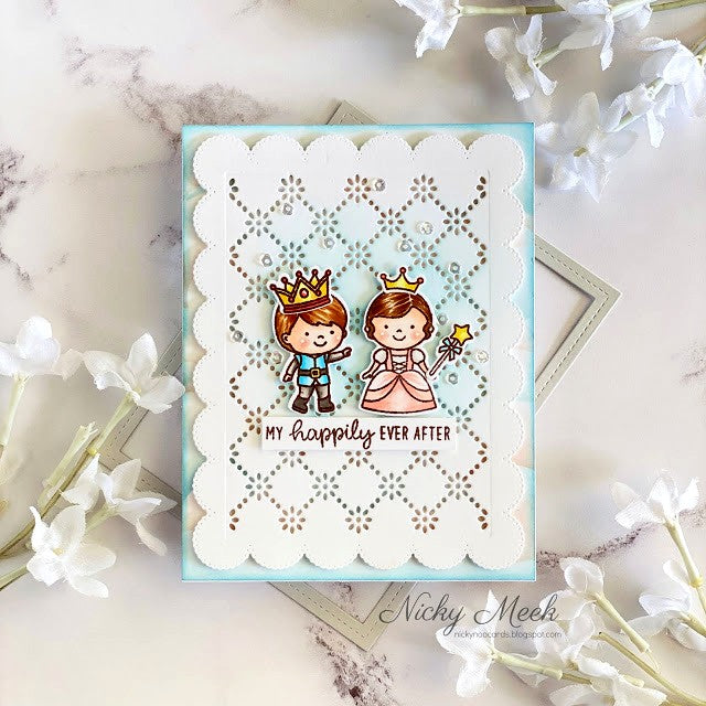 Sunny Studio Stamps You're My Happily Ever After Princess with Prince Fairytale Handmade Card (using scalloped Frilly Frames Eyelet Lace Background Backdrop Mat Metal Cutting Dies)