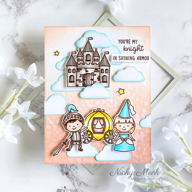 Sunny Studio Stamps You're My Knight In Shining Armor Fairytale Princess Castle in The Clouds Handmade Card (using Enchanted 4x6 Clear Photopolymer Stamp Set)