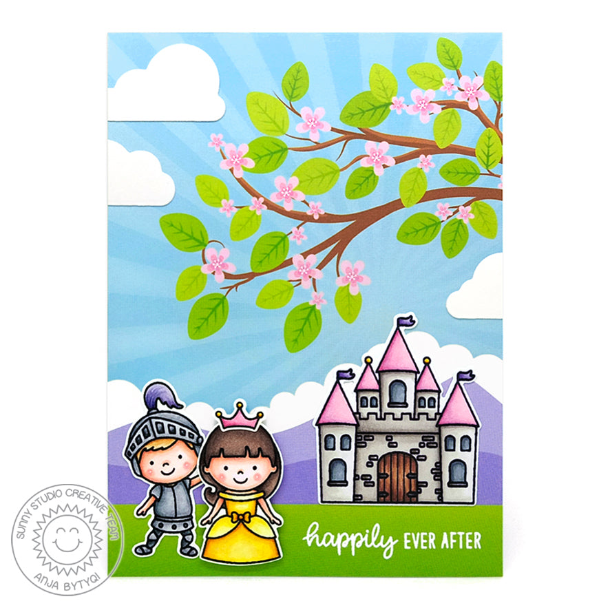 Sunny Studio Spring Cherry Blossoms Tree Princess Fairytale Handmade Card (using Spring Fling 6x6 Patterned Paper Pack)