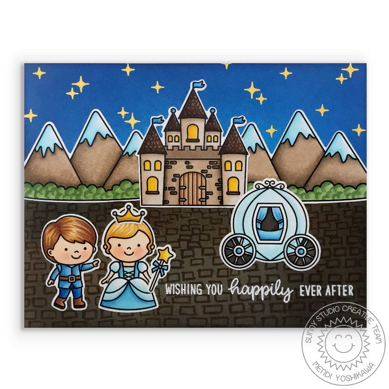 Sunny Studio Fairytale Princess Happily Ever After Wedding Card (using Enchanted Clear Stamps)