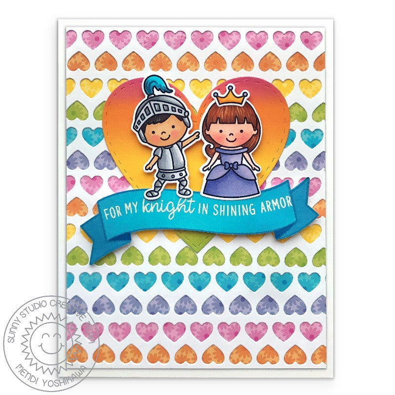 "Sunny Studio Enchanted Princess ""Your My Knight in Shining Armor"" Handmade Love Themed Card with Heart background by Mendi Yoshikawa (using Banner Basics 4x6 Clear Stamps)"