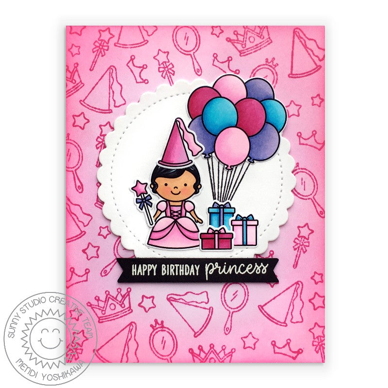 Sunny Studio Pink Princess Handmade Birthday Card with Balloon Bouquet & Presents (using Enchanted 4x6 Clear Stamps)