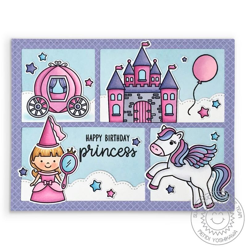 Sunny Studio Girls Pink & Lavender Fairytale Princess Comic Book Style Birthday Card (using Enchanted Clear Stamps)