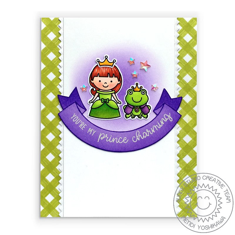 "Sunny Studio Stamps Purple & Green Gingham Princess & Frog ""You're My Prince Charming"" Handmade Card (using Banner Basics 4x6 clear stamps)"