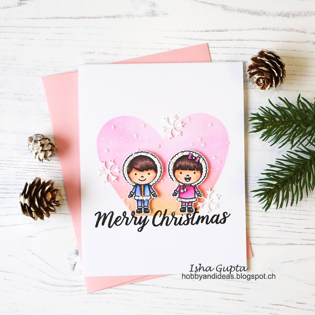Sunny Studio Stamps Merry Christmas Eskimo Kisses Winter Boy & Girl Holiday Card (using Basic Mini Shape II Exclusive Metal Cutting Dies)
