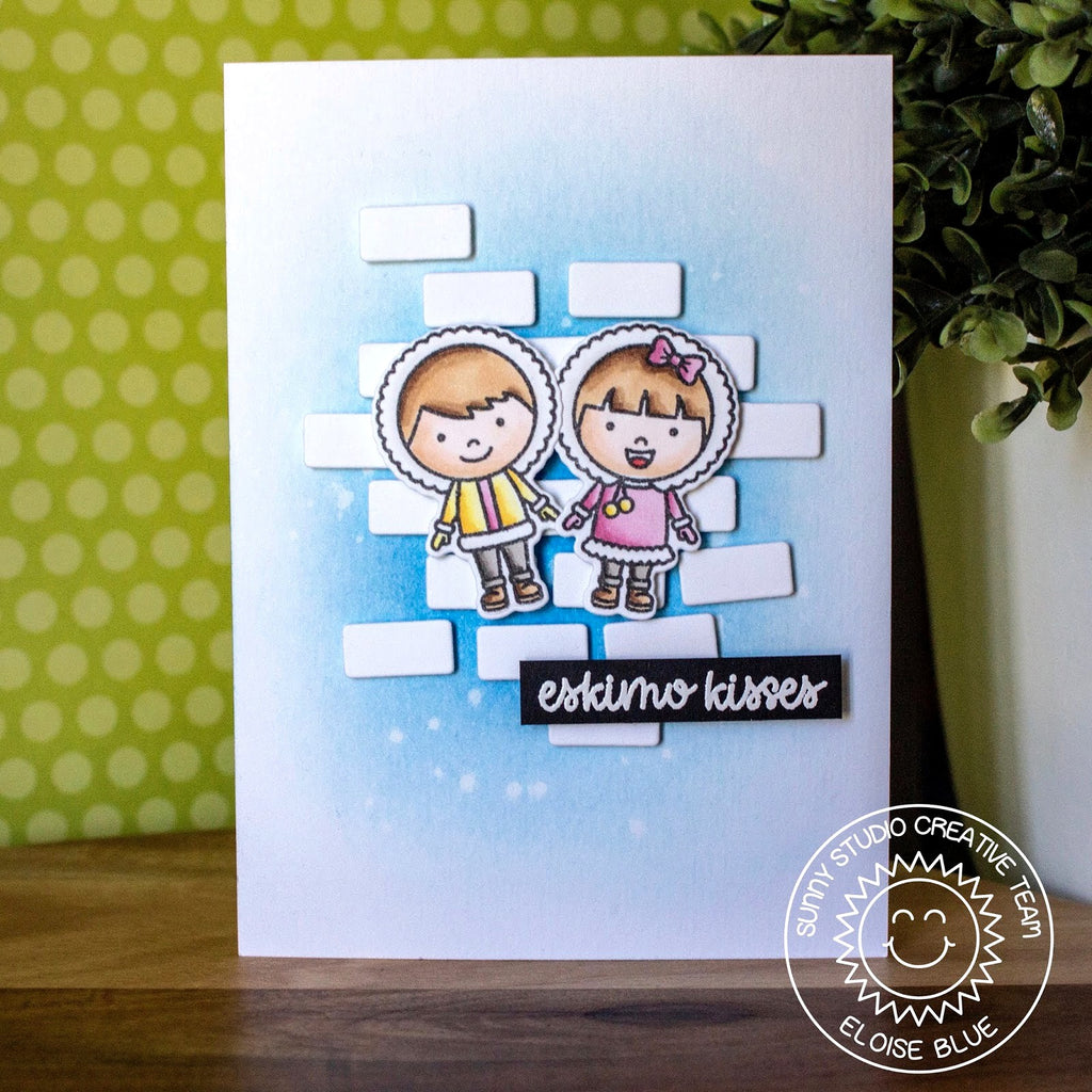 Sunny Studio Stamps Eskimo Kisses Ice Block Winter Card by Eloise Blue