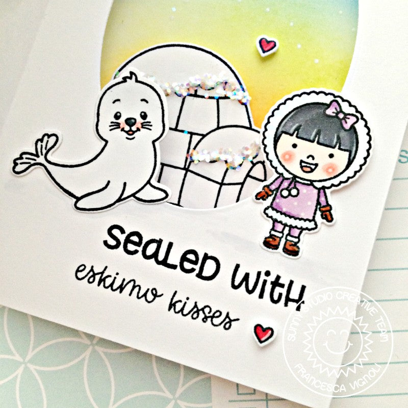 Sunny Studio Stamps Sealed with Eskimo Kisses Christmas Card by Franci