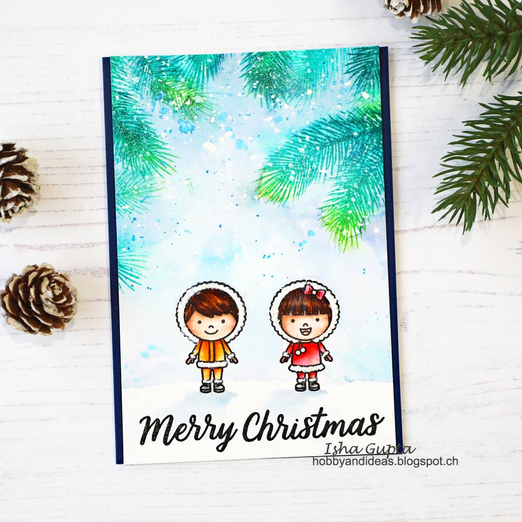 Sunny Studio Stamps Eskimo Kisses Watercolor Christmas Card by Isha Gupta